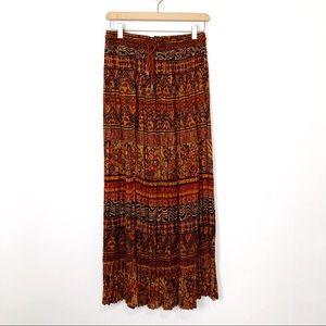 Vintage boho maxi skirt crinkle flowy earthy brown